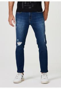 Calça Hering Jeans Taper Destroyed Azul
