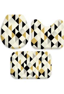 Jogo Tapetes Love Decor Para Banheiro Multi Triângulos Amarelo Único