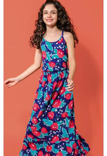 Vestido Longo Infantil De Viscose Com Estampa