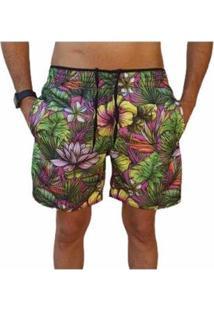 Bermuda Short Moda Praia Estampados Flores Relaxado Masculina - Masculino-Roxo