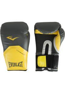 Luvas De Boxe Everlast Pro Style - 16 Oz - Adulto - Cinza Escuro/Amarelo