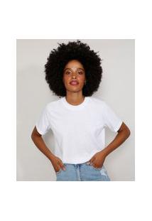 Camiseta Feminina Manga Curta Básica Ampla Decote Redondo Branca