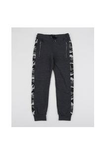 Calça De Moletom Infantil Com Faixa Estampada Camuflada Cinza Mescla Escuro