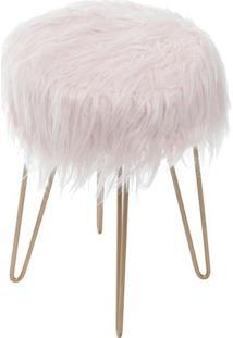 Puff Glamour- Rosa & Dourado- 40Xø28Cm- Or Desigor Design
