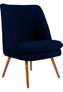 Poltrona Decorativa Fixa Pés Palito Pérsia Veludo Azul Marinho B-287 - Lyam Decor