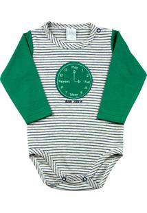 Body Bebê Suedine Ano Zero Listrado Relógio Verde