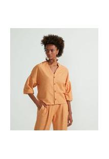 Camisa Decote V Em Algodão Com Manga Balonê | Marfinno | Laranja | Gg