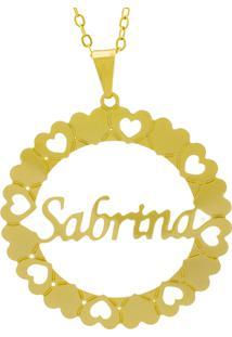 Gargantilha Horus Import Pingente Manuscrito Sabrina Banho Ouro Amarelo