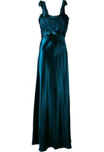 Maison Margiela Vestido Longo Metálico - Azul