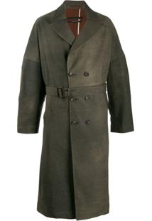 Ziggy Chen Distressed-Effect Trench Coat - Marrom