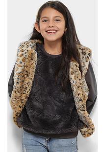 Colete Infantil Zeep! Pelinho Leopardo Feminino - Feminino-Caramelo+Bege