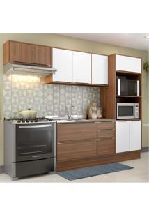 Cozinha Completa Multimã³Veis Com 6 Peã§As Calã¡Bria 5457R Nogueira/Branco Marrom - Marrom - Dafiti