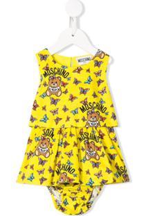 Moschino Kids Vestido Com Estampa De Borboleta E Logo - Amarelo