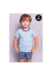 Kit 2 Pijama Bella Fiore Modas Infantil Curto Azul