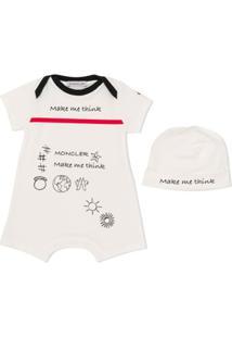 Moncler Kids Body De Algodão Com Slogan - Neutro