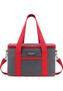 Bolsa Térmica Com Bolso- Cinza & Vermelha- 28X17X18Cjacki Design