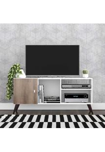 Rack Para Tv Até 42 Polegadas 1 Porta Retrô Rt3014 Branco/Rústico - Móvel Bento