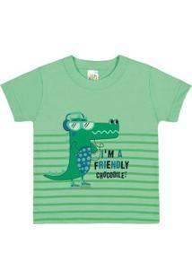 Camiseta Infantil Pulla Bulla Meia Malha Masculino - Masculino-Verde