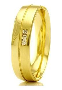 Aliança De Casamento Feminina Em Ouro 18K 750 Wm Joias 4Mm Com Zircônia F2331 - Feminino