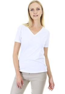 Camiseta Básica Manga Curta Lisa Com Decote Em V E Acabamento Em Viés - Kanui