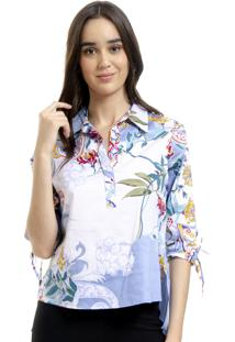 896fb68b54 Camisa 101 Resort Wear Polo Tricoline Floral Azul