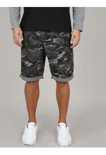 Bermuda De Sarja Masculina Slim Estampada Camuflada Com Bolsos Chumbo