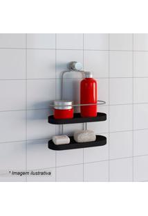 Porta Shampoo Duplo Wave- Preto & Prateado- 35,5X25Xmetaltru