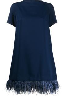 P.A.R.O.S.H. Vestido Com Acabamento De Plumas - Azul
