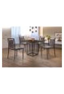 Conjunto De Mesa De Jantar Hera Com Tampo Mocaccino E 4 Cadeiras Grécia Ii Linho Cinza E Café