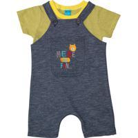 7b1c0d4ca8 Conjunto Camiseta Jardineira Bito Em Meia Malha Moletinho Alto Verão Gb  Amarelo