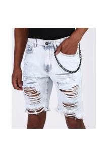 Bermuda Jeans Masculina Slim Destroyed Com Corrente Azul Claro