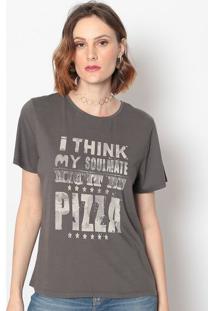 Camiseta Com Inscriã§Ãµes- Cinza Escuro & Cinza Claro-Canal