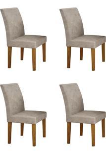 Conjunto Com 4 Cadeiras Olímpia Imbuia Mel E Pena Palha
