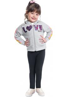 Conjunto Infantil Menina Jaqueta + Legging Kyly Cinza - Tricae