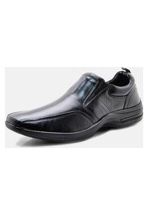 Sapato Social Pipper Confortável Liso Couro Preto