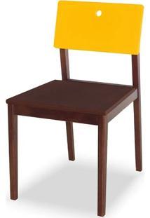 Cadeira Flip Cor Cacau Com Encosto Amarelo - 30841