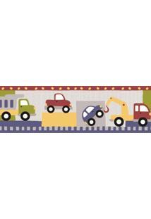 Papel De Parede Border Coleção Infantário Azul Vermelho Carros 1908 Bobinex