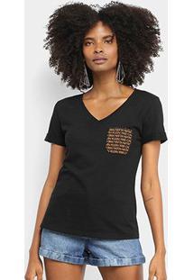 Camiseta Calvin Klein Bolso Gola V Feminina - Feminino-Preto