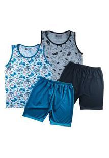 Kit 2 Pijama Masculino Infantil Regata Grappin Malha Pv