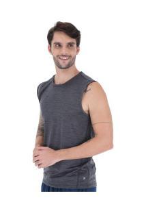 Camiseta Regata Oxer Textura Sublimada - Masculina - Cinza Esc Mescla