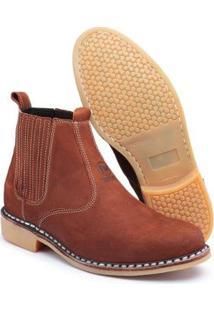 Bota Top Franca Shoes Vira Francesa Couro Masculino - Masculino-Marrom