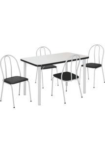 Conjunto De Mesa Com 4 Cadeiras Cintía Branco