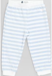 Calça Infantil Básica Listrada Em Plush Azul