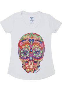 Camiseta Estampa Sugar Skull Black Angus Feminina - Feminino-Branco