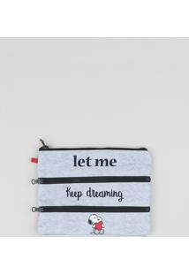 Nécessaire Feminina Snoopy Estampada Com Divisórias Cinza Mescla - Único