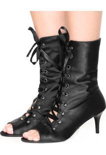 Open Boot Dafiti Shoes Salto Fino Cetim Preta