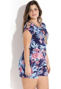 85e07d66dc Macaquinho Floral Com Tiras Plus Size Quintess