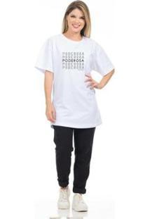 Camiseta Clara Arruda Poderosa Feminina - Feminino-Branco