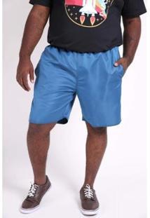 Bermuda Kauê Plus Size Tactel Lisa Masculina - Masculino-Azul