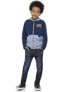 Colete Tecido E Moletom Infantil Quimby Masculino - Masculino-Azul